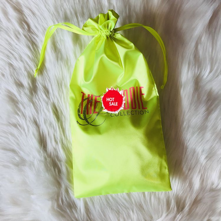 Custom Promotion 20X30 lime Green Premium Fabric Satin String Bag