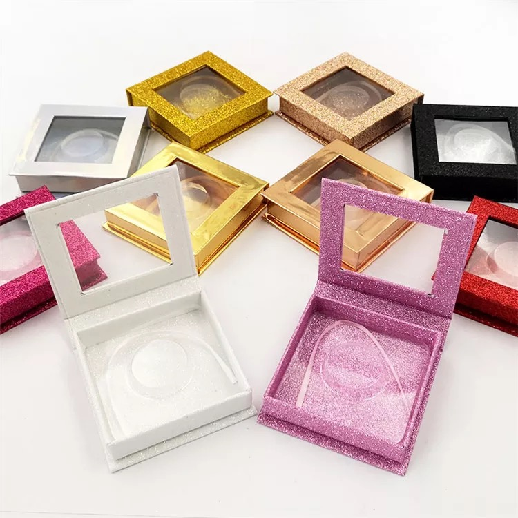 Custom Magnetic Glitter Colorful Square eyelash packaging box empty