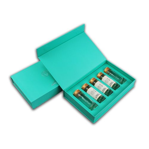 Blue Cosmetic skincare box with magnetic closure