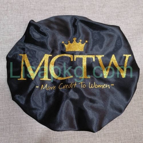Custom Silk Satin Bonnets With Big Glitter Logo